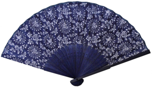 Blue cotton hand held Chinese fans with bamboo fretwork,