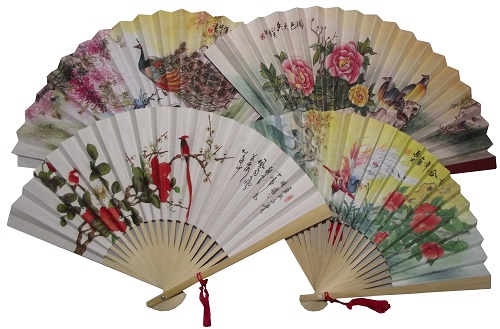 Assorted Chinese paper fans with colourful oriental patterns,