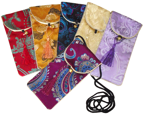 Chinese silk phone pouch with colourful oriental patterns,