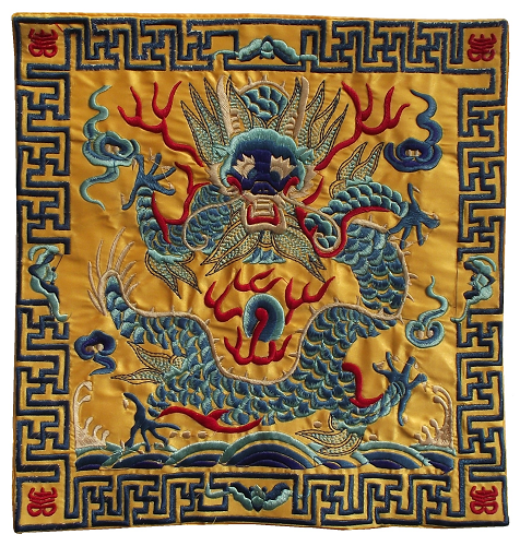 Embroidered gold colour Chinese dragon table mats,