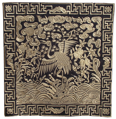 Black and gold Chinese place mats with embroidered Cranes,