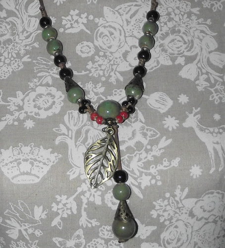 Chinese style ceramic statement necklace with green beads,