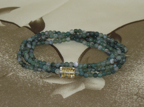 Wrist Mala made from Moss Agate crystal gemstones,