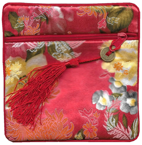 Red Chinese silk purse with oriental floral patterns,