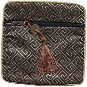 Chinese silk coin purse with a traditional oriental lattice pattern,