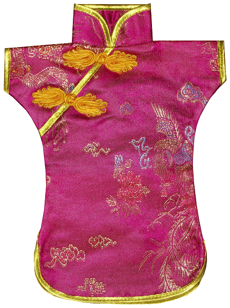 Magenta silk bottle covers with Chinese floral patterns,