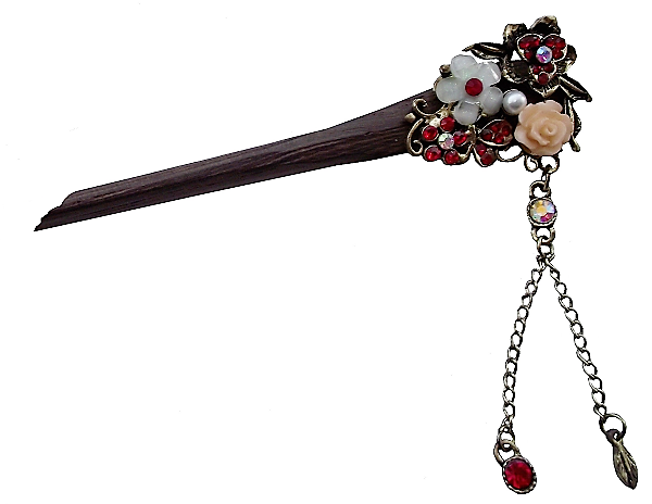 Wooden Chinese hair stick decorated with pink flowers,