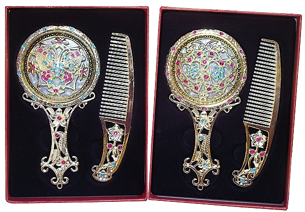 Vintage Chinese hair brush and hand mirror sets,