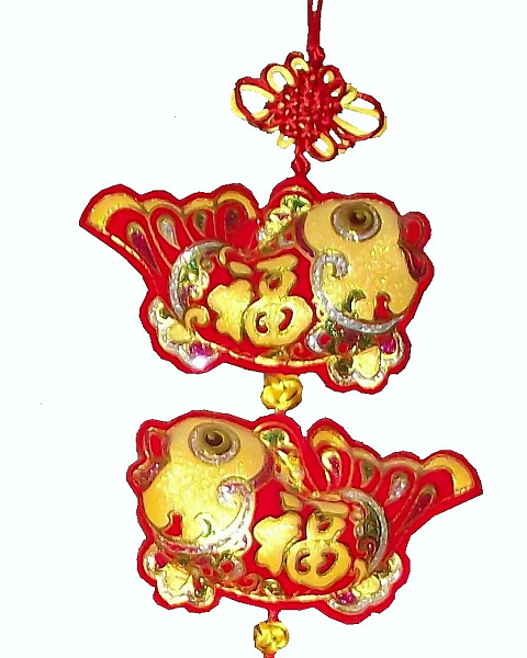 Large Chinese knot with new year wealth symbols,