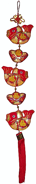 Large Chinese knots with wealth symbols and gold ingots,