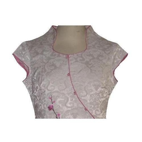 Short length Chinese dress with a pink plum blossom pattern,
