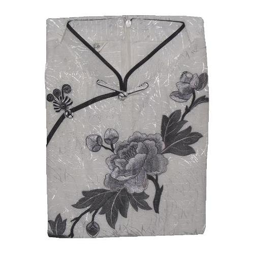 White sleeveless Chinese dress with peony flower blossoms,