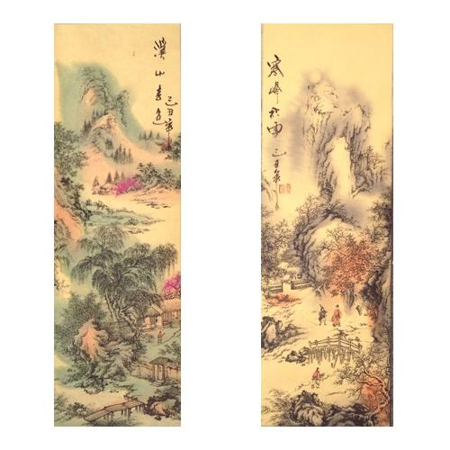 Chinese hanging wall scrolls with oriental landscapes,