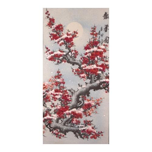 Chinese wall scroll with painted pink plum blossom,