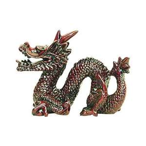 Feng shui Chinese dragon in a glossy red resin finish,