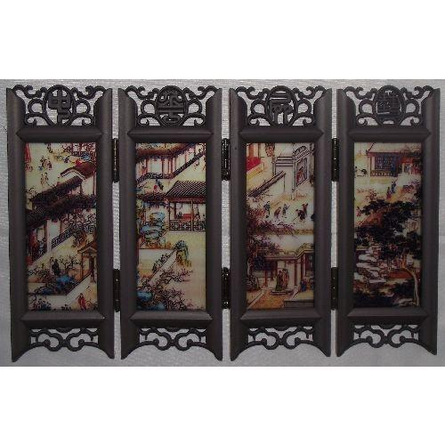 Chinese tabletop screens with painted glass panels,