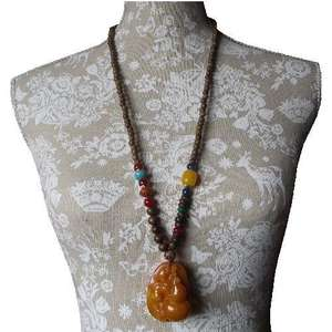 Chinese fashion necklace with a dragon and gourd,
