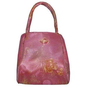Pink Chinese handbags with colourful floral patterns,