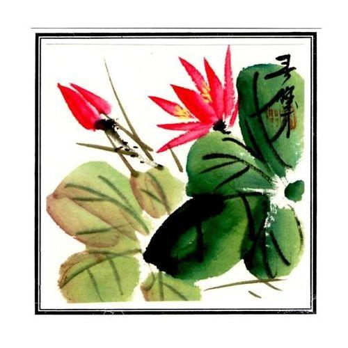 Chinese watercolour paintings of oriental flowers,