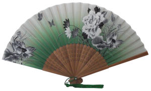 Chinese silk fans with flowers and butterflies patterns,