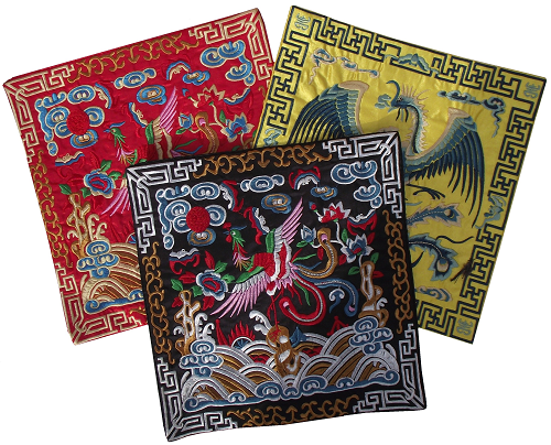 Chinese table mats with colourful embroidered mythical Phoenix,