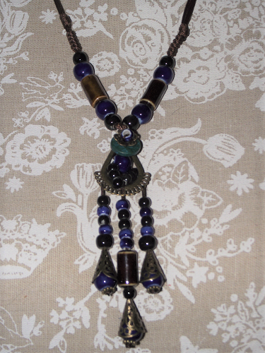 Ceramic bead necklaces with oriental ornaments,