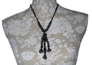 Tibetan style fashion necklace with polished ceramic beads,