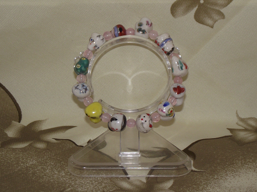 Chinese zodiac charm bracelets with rose quartz beads,