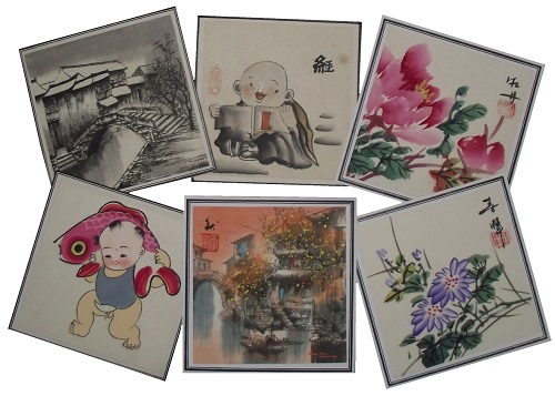 Chinese art and painted wall scrolls,