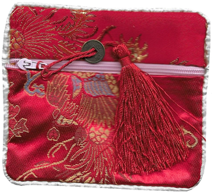 Chinese silk coin purse decorated with phoenix figures,