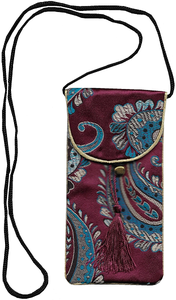 Silk brocade mobile phone pouches with Chinese floral patterns,
