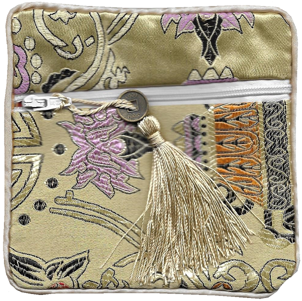 Chinese silk coin purse with colourful good fortune symbols,