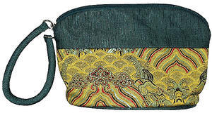 Green and gold silk brocade Chinese style toiletry bags,