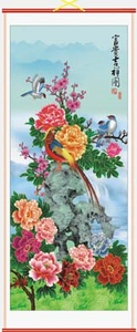 Chinese wall scrolls decorated with colourful oriental flowers,