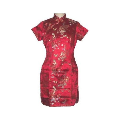 Red Chinese dress with a dragon and phoenix pattern,