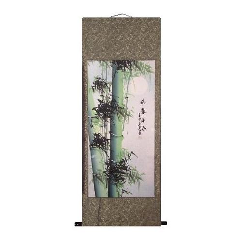 Chinese painted wall scroll with bamboo forests,