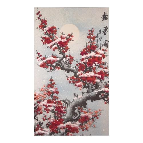 Chinese wall scroll with winter plum blossom trees,