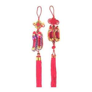 Colourful Chinese knots with lucky Chinese slippers,