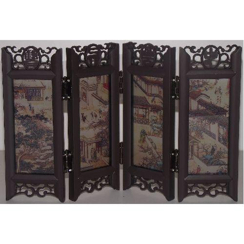 Miniature Chinese tabletop screens with painted panels,