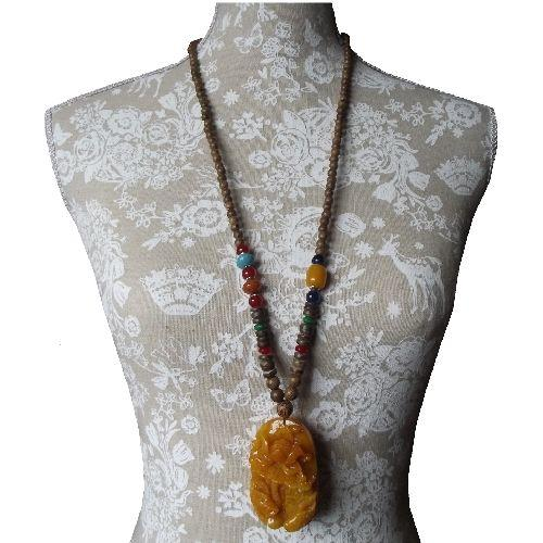 Chinese style necklace with a Lotus and Carp pendant,
