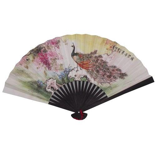 Chinese paper fan with peacocks and blossoms,