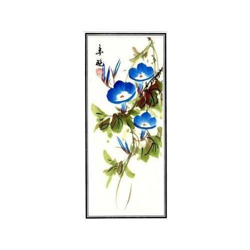 Unframed Chinese watercolour paintings of oriental flowers,