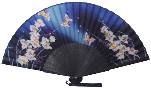 Blue Chinese silk fans with black bamboo fretwork,
