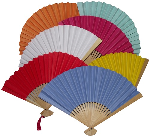 Hand held Chinese paper fans in assorted colours,