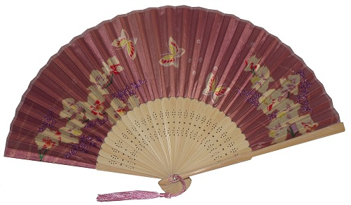 Silky Chinese fans with gold butterflies and blossoms,
