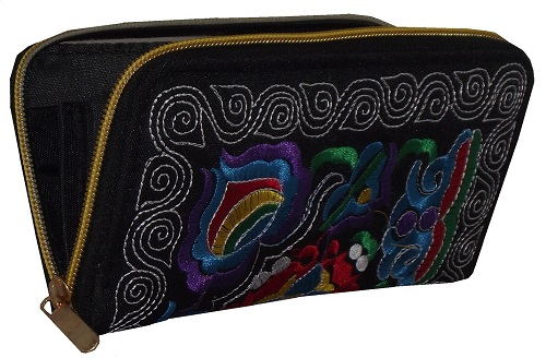 Black Chinese purse with colourful floral patterns,