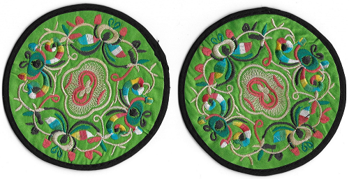 Chinese table mats and coasters with embroidered oriental patterns,