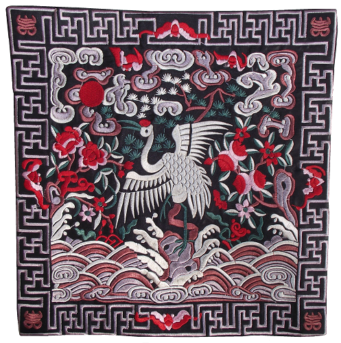 Chinese table mats with embroidered white feathered Cranes,