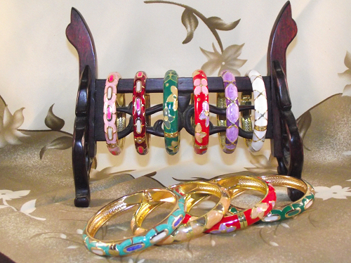 Closoinne enamel cuff bangles with floral patterns and butterflies,