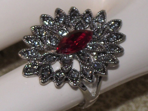 Dress rings with a star burst design and faux ruby gemstones,